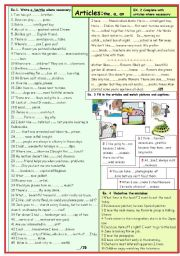 English Worksheet: ARTICLES