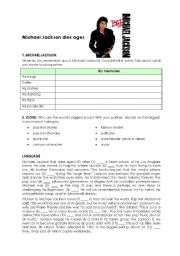 English Worksheets: Michael Jackson