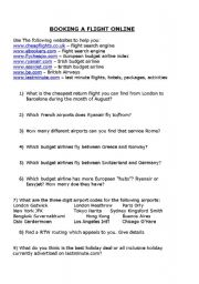 English Worksheets: Booking A Flight Online