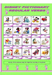 English Worksheet: Disney Pictionary_regular verbs_past simple