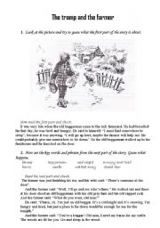 English Worksheets: The Tramp And The Farmer