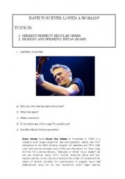 English Worksheets: Have you ever loved a woman?