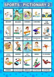 English Worksheet: SPORTS PICTIONARY 2