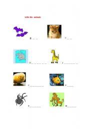 English Worksheets: write the animals