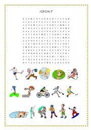 English Worksheet: wordsearch sport