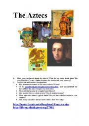 English Worksheets: The Aztecs  Scavenger Hunt