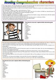 English Worksheets: Reading comprehension: characters