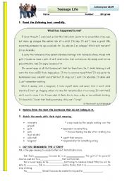 English Worksheets: What has happened to me