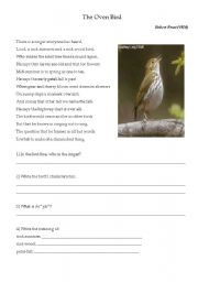 English Worksheets: The Oven Bird poem