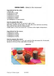 English Worksheets: COCOA CAKE