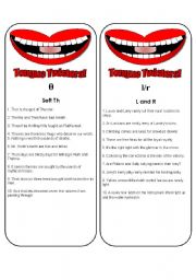 English Worksheets: Tongue Twister Bookmarks or Cards (6 pages plus ideas for play) Use them with my mouth gameboard.