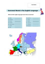 English Worksheets: Borrowed Words in the English Language