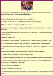 English Worksheets: Woody Allen 2nd part: funny quotes