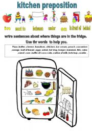 English Worksheet: fridge preposition