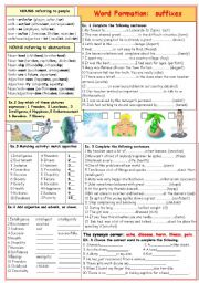 English Worksheet: Word formation: suffixes