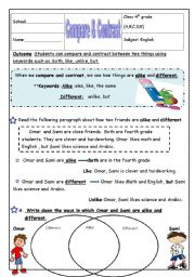 Printables Compare And Contrast Reading Worksheets free reading comprehension worksheets compare and contrast have fun teaching