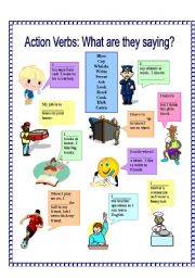 English Worksheets: Action Verbs: What are they saying? 1