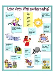 English Worksheets: Action Verbs: What are they saying? 2