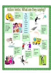 English Worksheets: Actions Verbs: What are they saying? 3