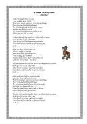 English Worksheets: A horse with no name- song!