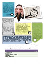 English Worksheet: Reading Comprehension - Job Advertisements