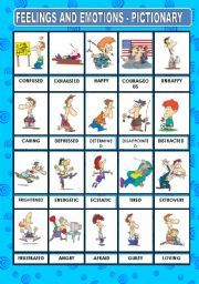 English Worksheet: FEELINGS AND EMOTIONS - PICTIONARY