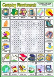 English Worksheet: CAMPING WORDSEARCH - (B&W VERSION INCLUDED)