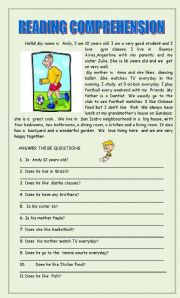 English Worksheets: READING COMPREHENSION 2 PAGES