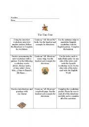 English Worksheet: Greetings Tic-Tac-Toe
