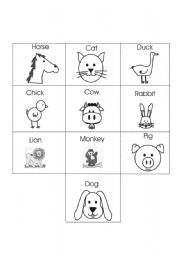 English Worksheets: Animals Concentrate