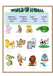 English Worksheet: World of animal