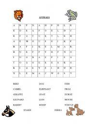 English Worksheets: Animal word sleuth