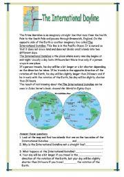 English Worksheets: The International Dateline