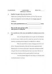 English Worksheet: worksheets on abstract nouns
