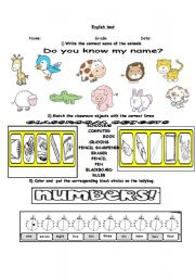 English Worksheets: english test numerals, animals, clasroom objects