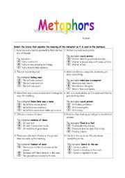 Metaphors Worksheet 1