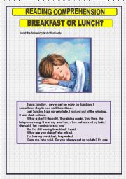 English Worksheet: READING COMPREHENSION -