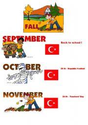 English Worksheet: seasons and holidays for Turkey