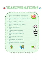 English Worksheets: TRANSFORMATIONS - REWRITING  4 Pages exercises with ANSWERS