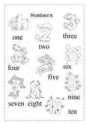 Numbers 1-10 - ESL worksheet by xyra