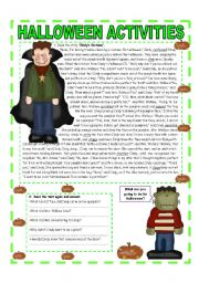 English Worksheet: OCTOBER THEME - HALLOWEEN: READING - QUESTIONS - VOCABULARY  & MATH (3/3) - Lower Intermediate /  Intermediate - (2 pages)