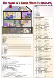 English Worksheet: The rooms of a house (there is / there are / to be / prepositions of place) - fully editable