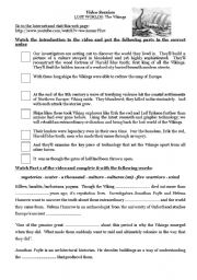 English Worksheet: Lost Worlds: The Vikings -video lesson-