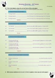 English worksheet: Exercise on all tenses...