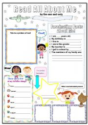 graphic relating to All About Me Poster Printable named All with regards to me poster - ESL worksheet through kneezah~