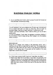 English Worksheets: BUSINESS WORDS
