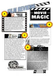 English Worksheet: MOVIE REVIEWS - READING