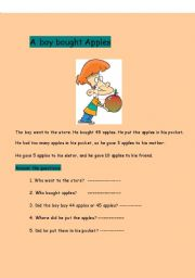 English Worksheets: A BOY BOUGHT APPLES