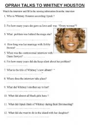 English Worksheets: OPRAH TALKS TO WHITNEY HOUSTON