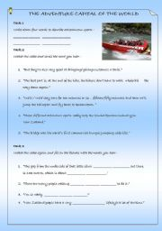 English Worksheets: THE ADVENTURE CAPITAL OF THE WORLD-VIDEO LESSON. questions,answers,extra links, National Geographic